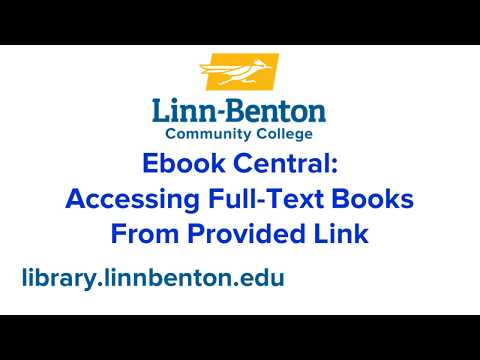 Ebook Central: Accessing Full-Text Books from provided link