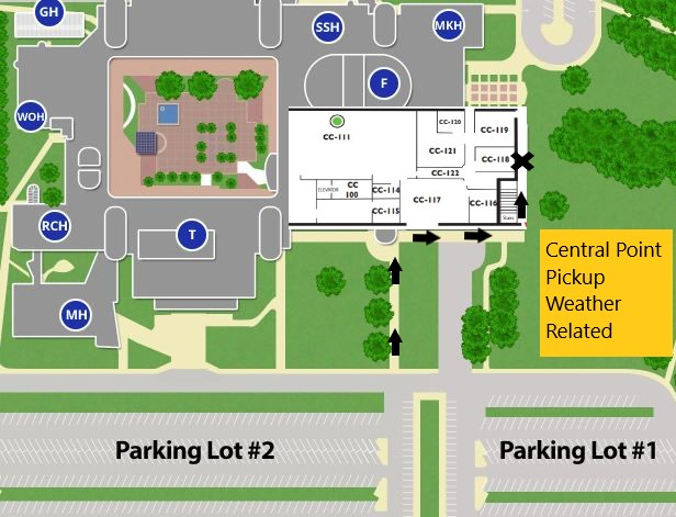 Enter the loading dock from Parking Lot 2 (the one closest to Takena Hall), and leave into Parking Lot 1 (the farthest southeast)